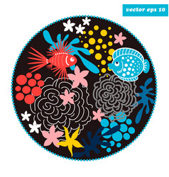 cartoon fish circle vector image vector image