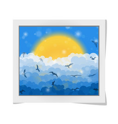 Cartoon photo frame with flying birds in clouds vector