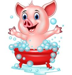 Cartoon pig bathing waving hand vector
