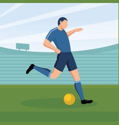 cartoon soccer player kicking ball vector image