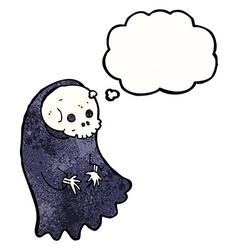 cartoon spooky ghoul with thought bubble vector image