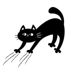 Cat arch back kitten scratching scratch track vector