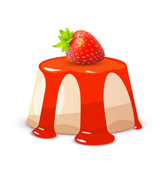 cheesecake with strawberry on white - whole cake vector image