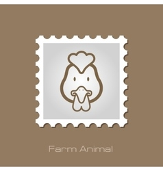 Chicken stamp Animal head vector