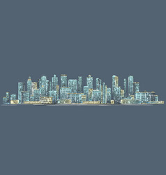 City skyline background hand drawn vector