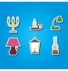 Color icons with different lamps vector
