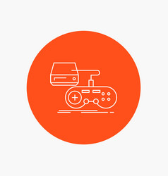 Console game gaming playstation play white line vector