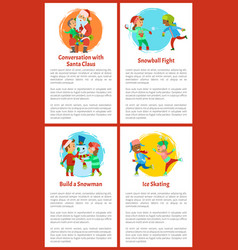 Conversation with santa claus games children vector