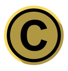 Copyright sign flat black vector