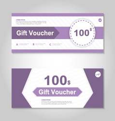 Cute purple gift voucher template layout set vector