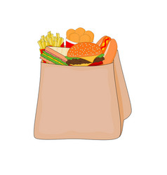 delicious fast food menu in shopping bag vector image