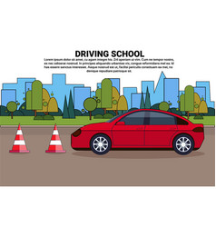 Driving school banner vehicle on road auto drive vector