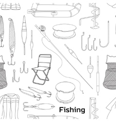Fishing hand drawn pattern vector