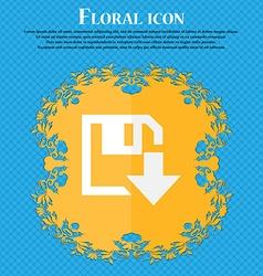 Floppy icon Flat modern design Floral flat design vector