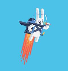 flying rocket jetpack rabbit launching in sky vector image