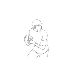 Football player in helmet keep ball and going vector