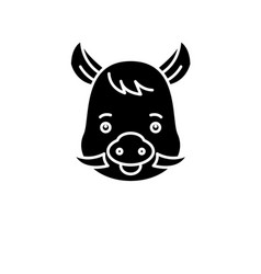 funny boar black icon sign on isolated vector image