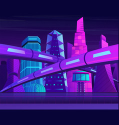 futuristic neon night city with skyscrapers and vector image