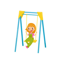 Girl having fun and ride on a swing kid on a vector