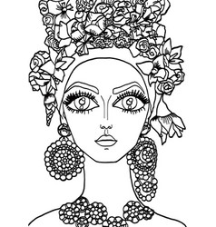 Girl with a decoration on her head 25 vector