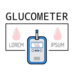 Glucometer test strip Label flat icon medical vector image