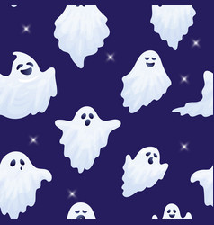 halloween ghost characters seamless pattern vector image
