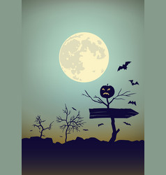 halloween moon background with bats and bushes vector image