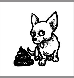Hand drawn sketch of a happy dog and pile of shit vector