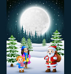 happy christmas with a santa claus in winter vector image