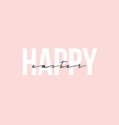 happy easter brush hand lettering on pink vector image