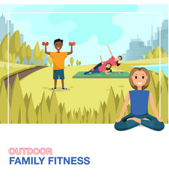 Happy people doing fitness outdoors in city vector
