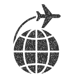 International Flight Icon Rubber Stamp vector