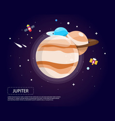 Jupiter saturn and neptune of solar system design vector