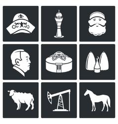 Kazakh culture Icons Set vector