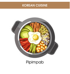 Korean cuisine pipimbap rice traditional dish food vector