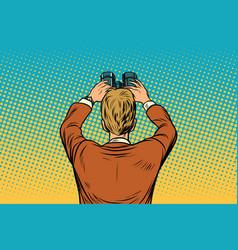 lookout businessman with binoculars vector image