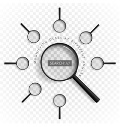 Magnifiers with different angles vector
