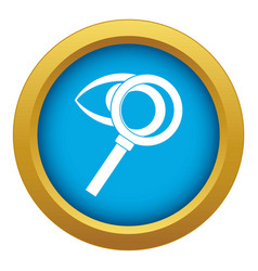 Magnifying glass with eye icon blue vector