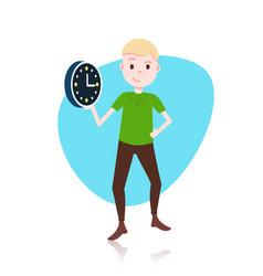 Man character holding wall clock template vector