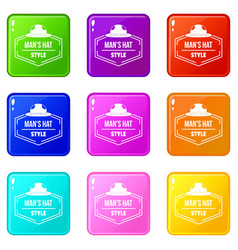 Man hat icons set 9 color collection vector