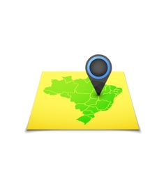 Map with a marker on Brazil vector