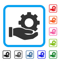 mechanic gear service hand framed icon vector image