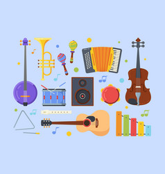modern ethnic musical instruments flat vector image
