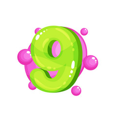 nine green glossy bright number kids font vector image
