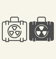 Nuclear case line and glyph icon nuclear safety vector