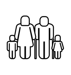 Old grandparents with children figure silhouette vector