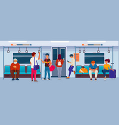 people sitting and standing inside a subway train vector image