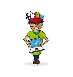 Profession social media manager man cartoon figure vector
