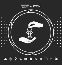 Receiving the bunch of keys - icon graphic vector