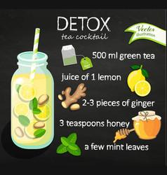 Recipe detox cocktail with green tea vector